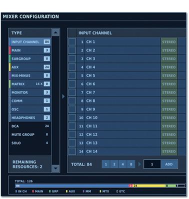 Roland M-5000 Mixer Configuration setup screen